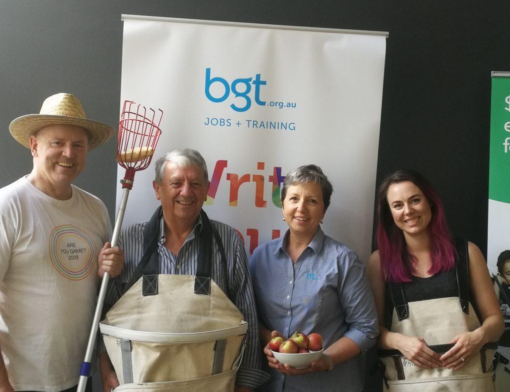 The Hidden Orchard and BGT. Ellen Burns, Steve Burns and Leo Rennie with Suzanne from Ballarat Group Training